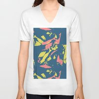camo V-neck T-shirts featuring Bright Camo by lalaprints