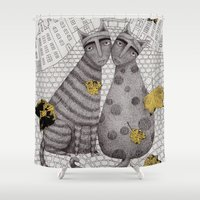 hats Shower Curtains featuring Two Cats Without Hats by Judith Clay