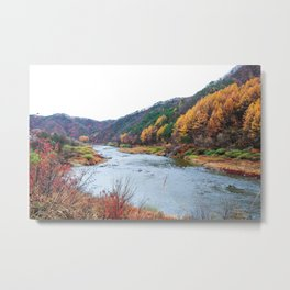 Scenic Fall Nature Lanscape with Stream and Hills Metal Print