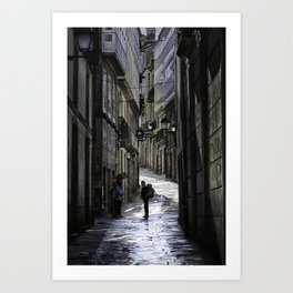 Pilgrim in Santiago de Compostela; after the walk Art Print