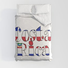 Costa Rica Font with Costa Rican Flag Comforters