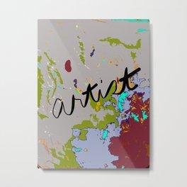 Artist Drop Cloth in dark red, gray, green, blue Metal Print