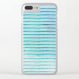 fine aqua handpainted stripes on clear white Clear iPhone Case