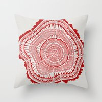tree rings Throw Pillows featuring Red Tree Rings by Cat Coquillette