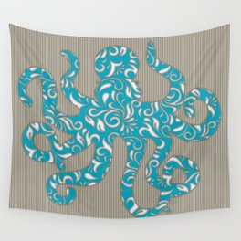 Octopus filled with Floral Vine Print - Turquoise on Brown Striped Background Wall Tapestry