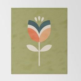 RETRO TULIP - ORANGE AND OLIVE GREEN Throw Blanket