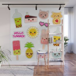 Hello Summer. Pineapple, cherry smoothie cup, ice cream, sun, cat, cake, hamster. Kawaii cute face. Wall Mural