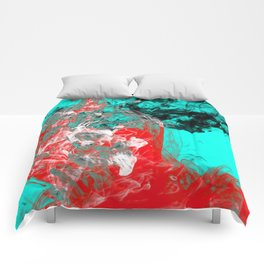Marbled Collision - Abstract, red, blue, black and white mixed paint artwork Comforters