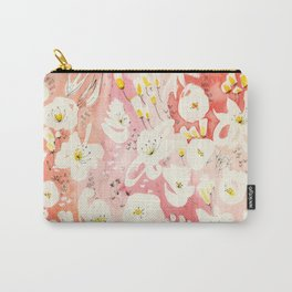 Spring Field in Crimson Peach Carry-All Pouch