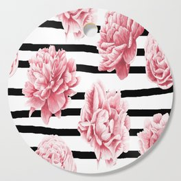 Simply Drawn Stripes and Roses Cutting Board