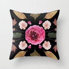 BOTANICAL COLLAGE N1 BLACK BACKGROUND Throw Pillow