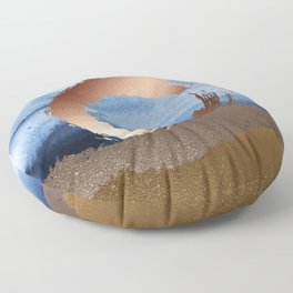 Inspiration: Gold, Copper And Blue Floor Pillow