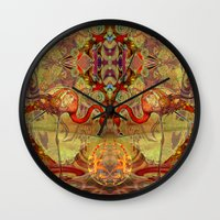 flamingos Wall Clocks featuring Flamingos by Waelad Akadan