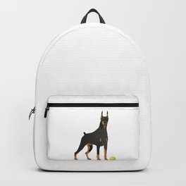 Doberman Dog with a Green Ball Backpack