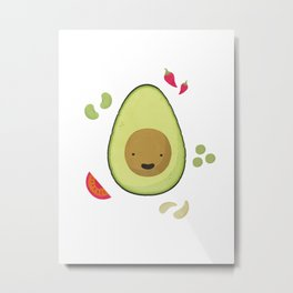 Happy Avocado Metal Print