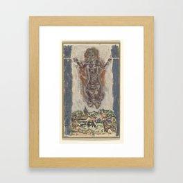 Dansende vrouwenfiguur boven een landschap, Leo Gestel, 1891 - 1941 Framed Art Print
