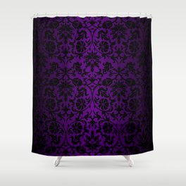 Purple and Black Damask Pattern Design Shower Curtain