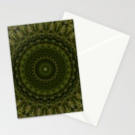 Mandala in olive green tones Stationery Cards