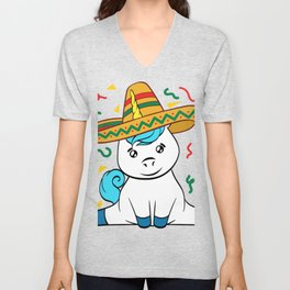"Mexican themed Top Garment Apparel ""Confetti Unicorn Mythical Magical"" T-shirt Design Mexico Unisex V-Neck"