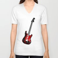 music notes V-neck T-shirts featuring Music Notes Electric Guitar by GBC Design