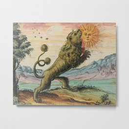The Lion Eating The Sun Antique Alchemy Illustration Metal Print