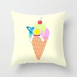 Space Odyssey Ice Cream | Astronaut Ice Cream | Space Ice Cream | Galaxy Ice Cream | pulps of wood Throw Pillow
