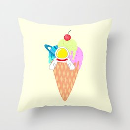 Space Odyssey Ice Cream | Astronaut Ice Cream | Space Ice Cream | Galaxy Ice Cream | pulps of wood Throw Pillow