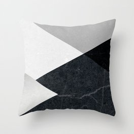 Geometrics - marble & silver Throw Pillow