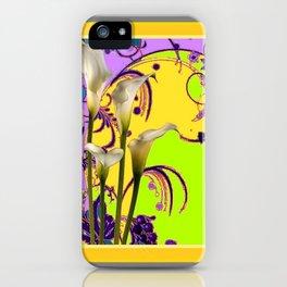 White Calla Lilies Lime-Purple Fantasy Garden Flowers iPhone Case