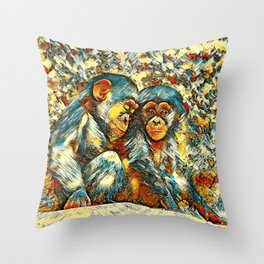 AnimalArt_Chimpanzee_20170601_byJAMColorsSpecial Throw Pillow