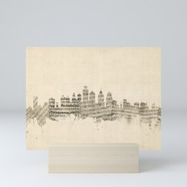 Philadelphia Pennsylvania Skyline Sheet Music Cityscape Mini Art Print