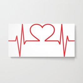 Heartbeat of Love ECG Wave Metal Print