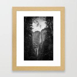 Yosemite Falls - Black & White Framed Art Print
