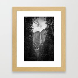 Yosemite Falls - Black & White Framed Art Print