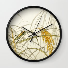 Grasshoppers on plants  - Vintage Japanese Woodblock Print Art Wall Clock
