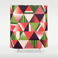 watermelon Shower Curtains featuring watermelon by Gray