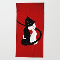 White And Black Cats In Love (red) Beach Towel