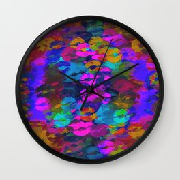 sexy kiss lipstick abstract pattern in pink blue orange red Wall Clock