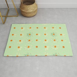 Mint Green Whimsical Real Daisy Flowers Pattern Rug