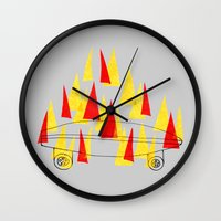 skateboard Wall Clocks featuring Flaming Skateboard by marcusmelton