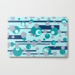 Geometric turquoise grey mix Metal Print
