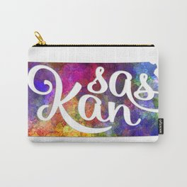 Kansas US State in watercolor text cut out Carry-All Pouch
