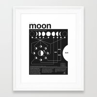 woman Framed Art Prints featuring Phases of the Moon infographic by Nick Wiinikka