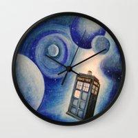 tardis Wall Clocks featuring TARDIS by Colunga-Art