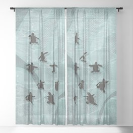 Loggerhead sea turtle hatchlings Sheer Curtain