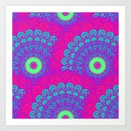 Mandala pattern #10 - fluorescent pink Art Print