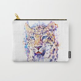 Watercolor Leopard Head Carry-All Pouch