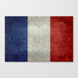 French Flag with vintage textures Canvas Print