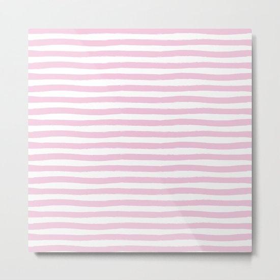Pink Hand Drawn Horizontal Stripes Metal Print