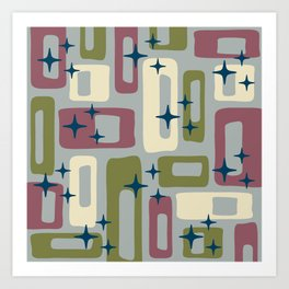 Retro Mid Century Modern Abstract Pattern 578 Wine Olive and Gray Art Print